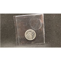 2 coins: 1853-P Seated Liberty dime, arrows at date, stars on front, fine and 1890-P Seated Liberty
