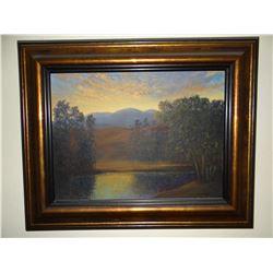 Michele Kapor, Bridge River at Sunrise, oil on canvas
