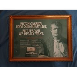 Butch Cassidy, Territorial Prison print, framed