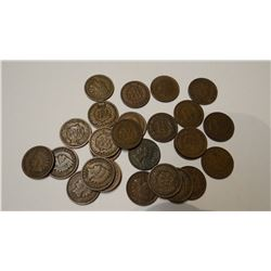 25 Indian-head pennies, asstd dates, all fine and assorted wheat pennies