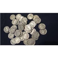 41 Indian-head, buffalo nickels, all fine