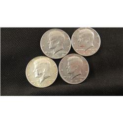 4 Kennedy half dollars, asstd dates