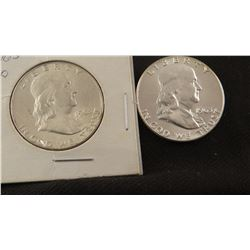 1963 P and 1963 D Franklin half dollars, extra fine