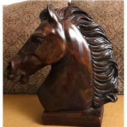 """Horse head plaster, 17"""" h and Woven basket w/lid"""