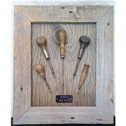 """Wood framed awls 14 1/2"""" W x 17 1/4"""" H; Wood framed barb wire 20 ½"""" W x 16 ¾"""" H"""