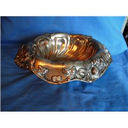 Poole Silver plated tauntga moss and Silver plated tray w/dishes and tea strainer