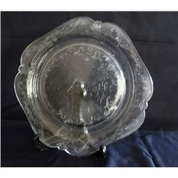 """2 pieces of Depression glass 10"""" plate & 10"""" cake plate"""
