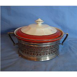 """Homer Laughlin 11"""" platter and 8"""" casserole w/lid, 1911"""