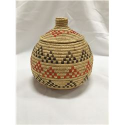 """Inuit woven basket with lid, 7"""" h"""