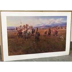 "Russell, Charles M. print, Lewis & Clark, Sacagawea, Shoshone Camp, unframed, 24"" x 36"""