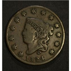 1824 LARGE CENT, CHOICE FINE