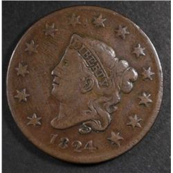 1824 LARGE CENT, FINE/VF