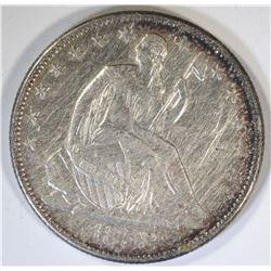 1858-O SEATED HALF DOLLAR, AU cleaned