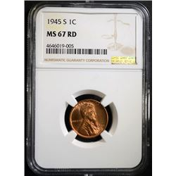 1945-S LINCOLN CENT NGC MS67 RD