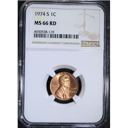 1974-S LINCOLN CENT NGC MS66 RD
