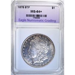1878 8TF MORGAN DOLLAR, ENG CH+/GEM BU