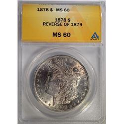 1878 REV. OF 79 MORGAN DOLLAR ANACS MS-60