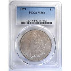 1891 MORGAN SILVER DOLLAR, PCGS MS-64