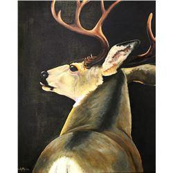 """Mule Deer Painting 28"""" x 36"""" Original Art """"Eminent Danger"""" by Cindy Moore"""