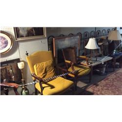 Grouping of Antique Chairs Lamps Pictures