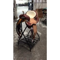 14?? Double T Barrel Saddle w/White Smooth