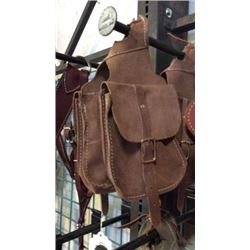 Brown Chap Leather Horn Bag-new