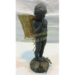Small Cherub Bronze With Basket