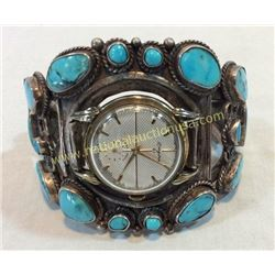 Silver And Turquoise Watch Cuff 1940's