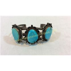 Silver And Turquoise Cuff 1950's Signed