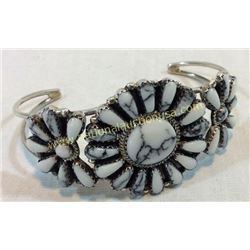 Silver & White Buffalo Turquoise Cuff Signed
