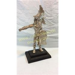 Silver Mexican Warrior Statue. Signed