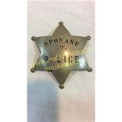 Spokane Police Badge. Sterling