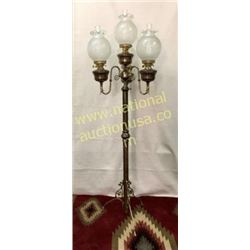 Victorian 4 Light Brass Floor Lamp With Etched Ss