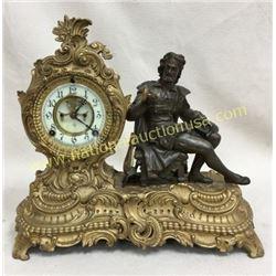 Ansonia French Bronze Statue Clock