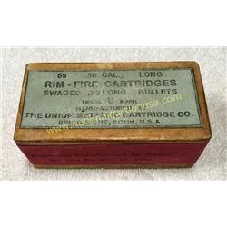 Full Unopened Box Of Cal. 38 Long U M C Cartridges