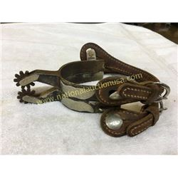 Pair Crocket Mustache Silver Overlay Spurs