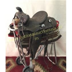 Well Used Old Cowboy Saddle By Newton Bros