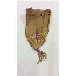 Beaded Folding Bladder Leather Bag 1940's