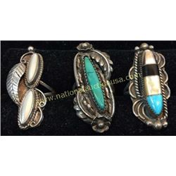 3 Sterling And Turquoise Ring