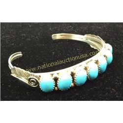 Sterling And Turquoise Sleeping Beauty Cuff