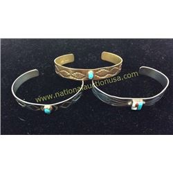 Silver Turquoise And Brass Cuffs