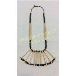 Hair Bone Necklace With Brass Trade Beads