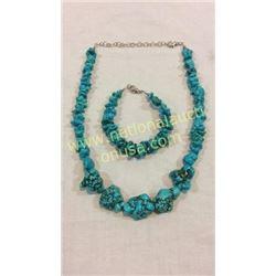 Turquoise Necklace And Bracelet Set