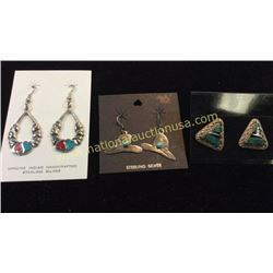 3 Sets Of Earring Sterling