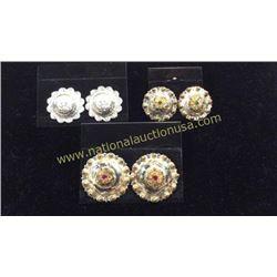 3sets Concho Sterling Earrings