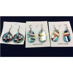 3 Sets Santa Domingo Turquoise Earrings