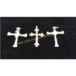 3 Cross Pendants Sterling Tx Artist