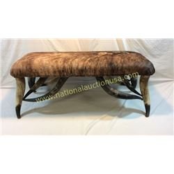 Steer Horn And Hide 4ft Bench