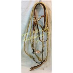 Leather And Rawhide Bridle With Rawhide Romal