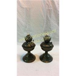 Pair Antique Brass Oil Lamps